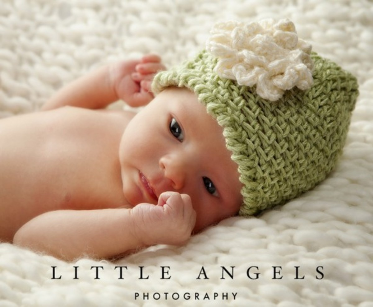 PDF 456: Lime Sherbet Herringbone Look Beanie Crochet Hat Pattern with Flower -- Multiple Sizes Newborn through Age 3: This crochet technique creates a herringbone effect.