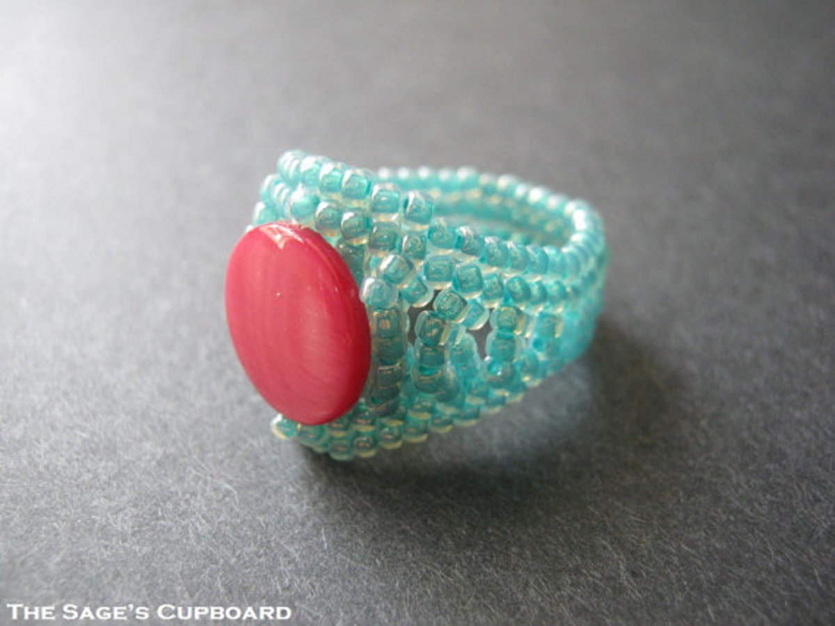 Aqua Pink Ring. Magenta Shell Coin in a Handmade Beaded Turquoise Blue Herringbone Band