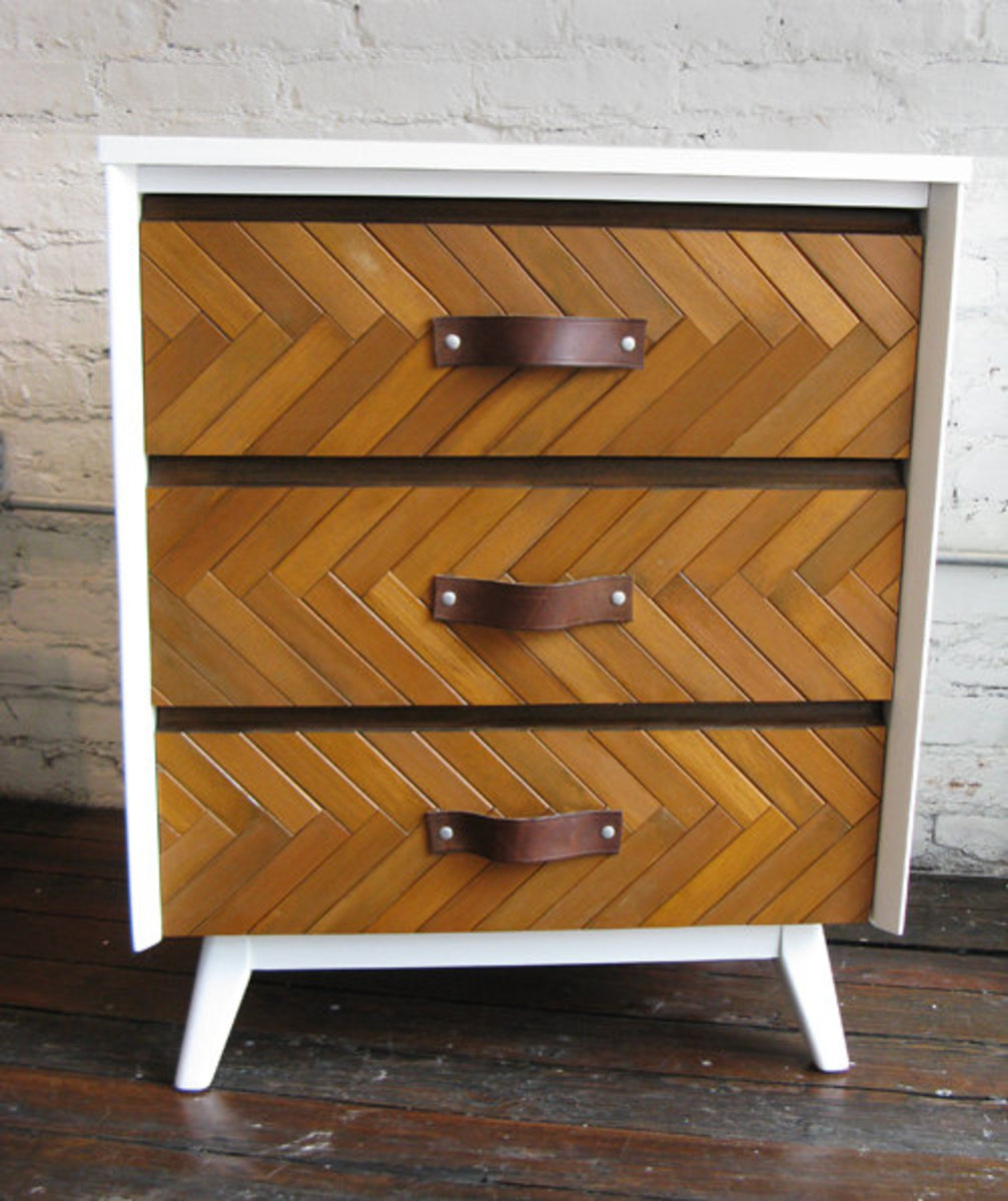 Vintage modern upcycled white and wood herringbone dresser