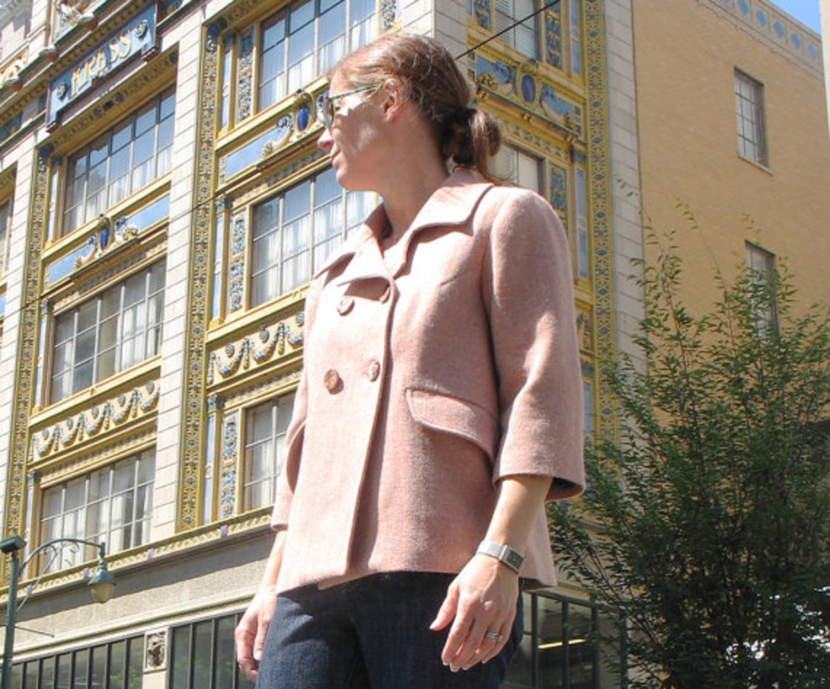 Jackie O retro swing jacket in Pink Wool herringbone and recycled buttons