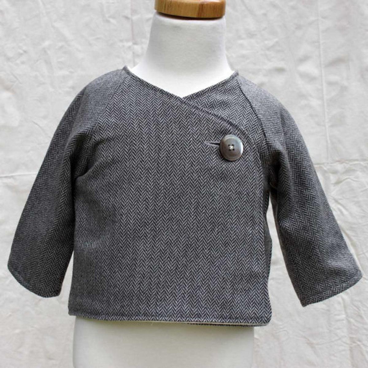 Herringbone Wool Kimono Jacket 3-12 mos.