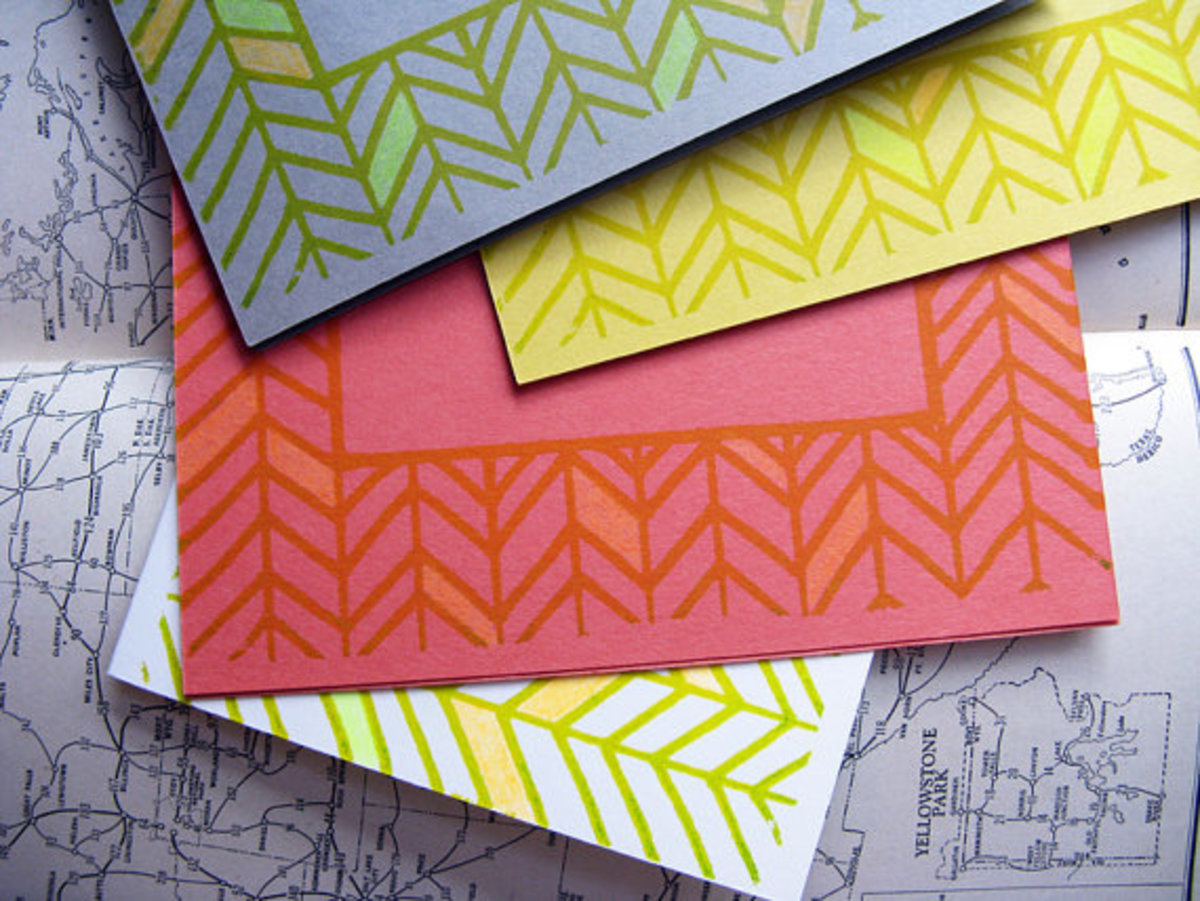 Neon Herringbone Card - gocco screen printed