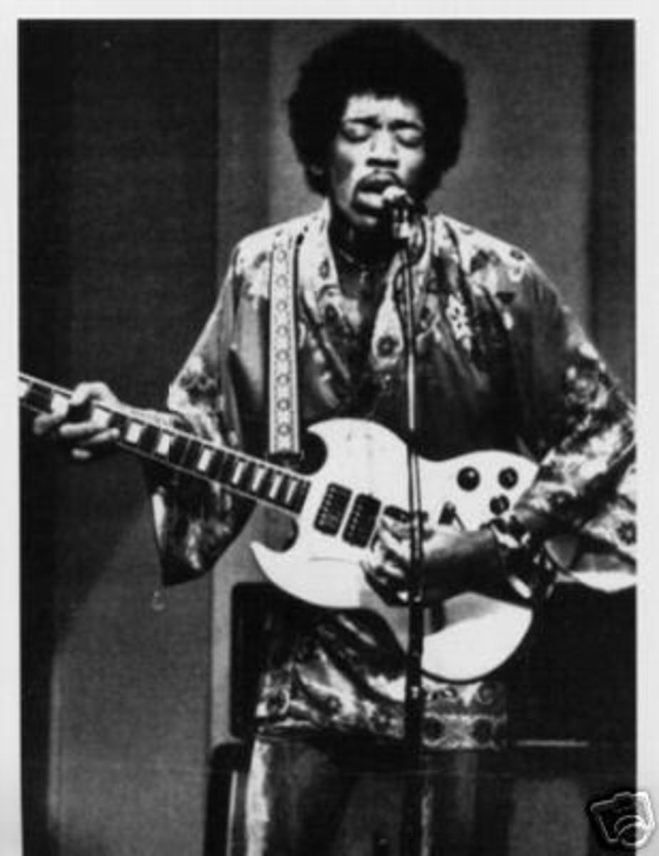 Jimi Hendrix on a Gibson SG Custom
