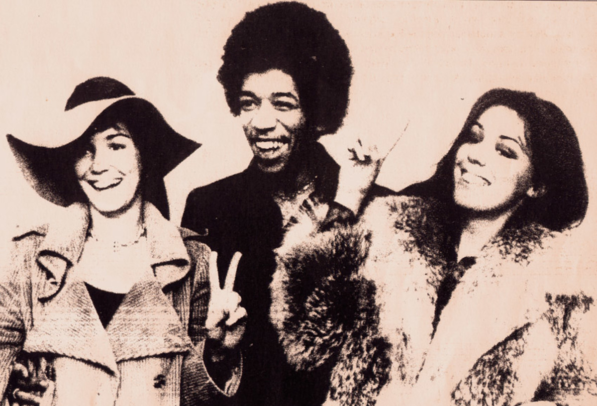 Jimi with friends in Canada after his acquittal on charges of heroin and hash possession found in his luggage at the airport