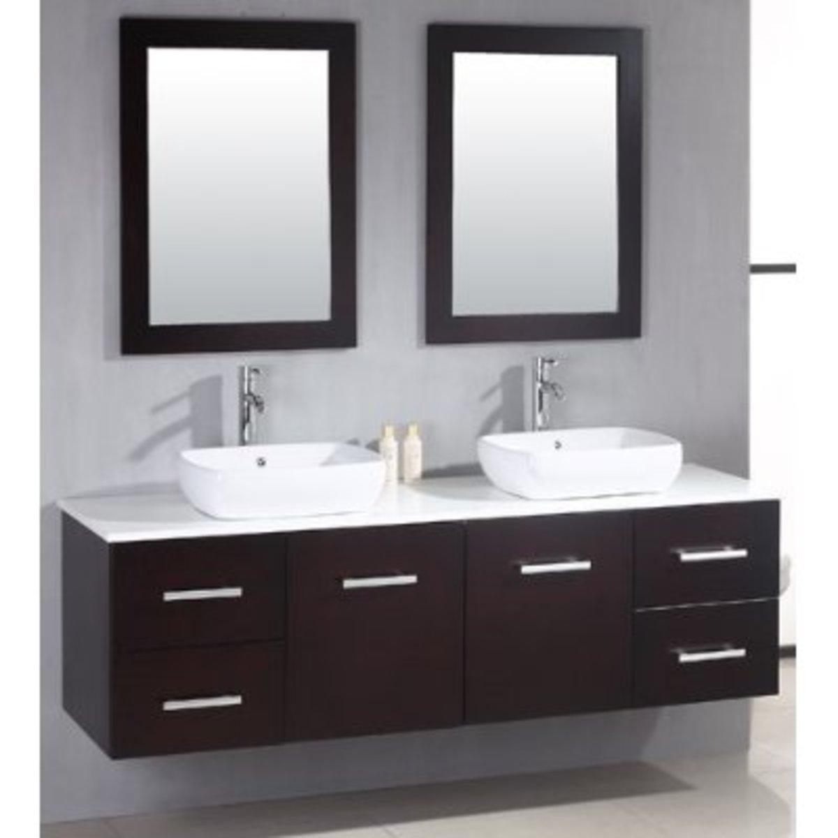 Modern or contemporary double bathroom sinks