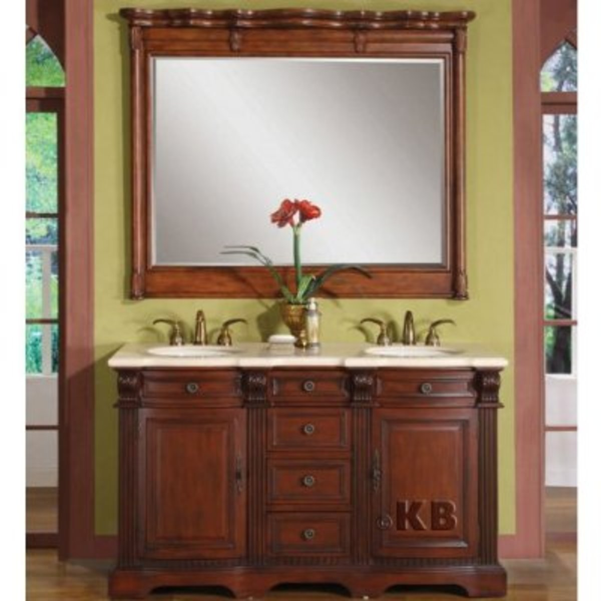 Double bathroom sinks in a traditional vanity.