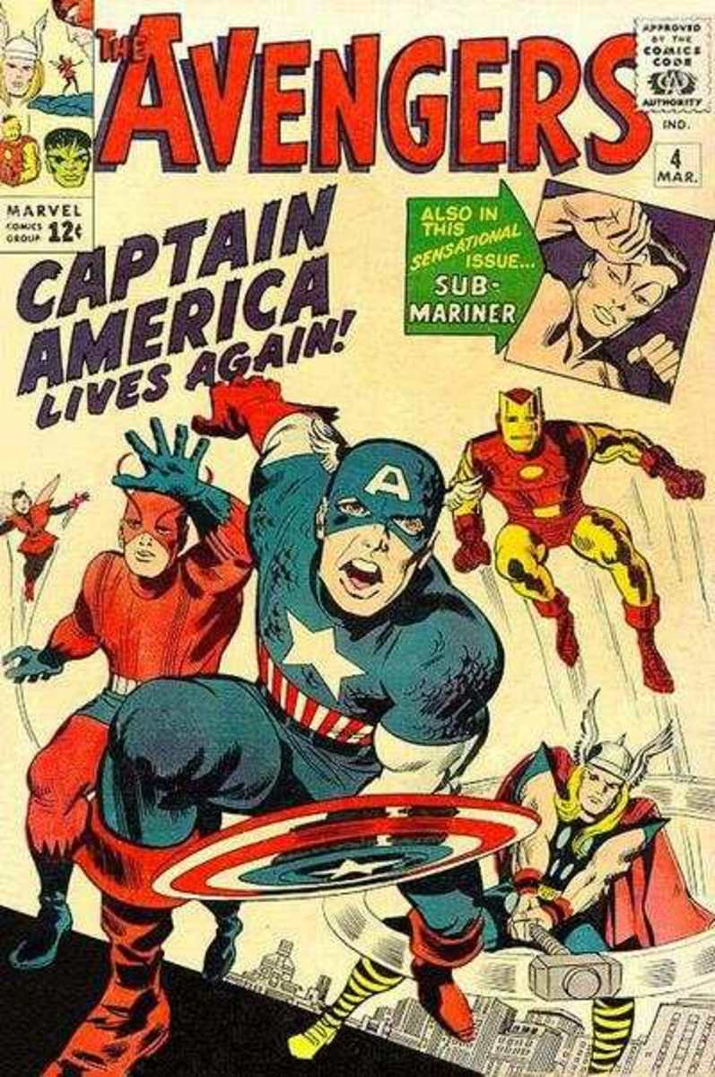 Avengers #4 (Marvel Comics) Rebirth of Captain America! 1st silver age cap. Joins the Avengers team!