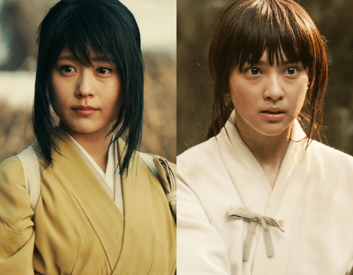 Courtesy of Netflix and Warner Bros. Yukishiro Tomoe (L) and Kamiya Kaoru (R) are the two love interests from the wartime and post-war periods in Kenshin's life.
