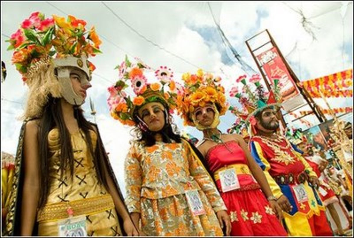 Both men and women wore Morion masks and headdress for the whole week of celebration