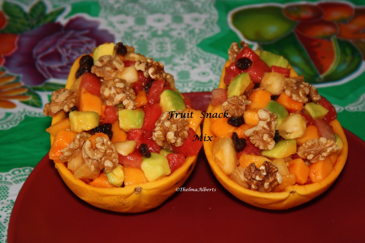 Ready to eat  Fruit Snack Mix served in papaya skin.