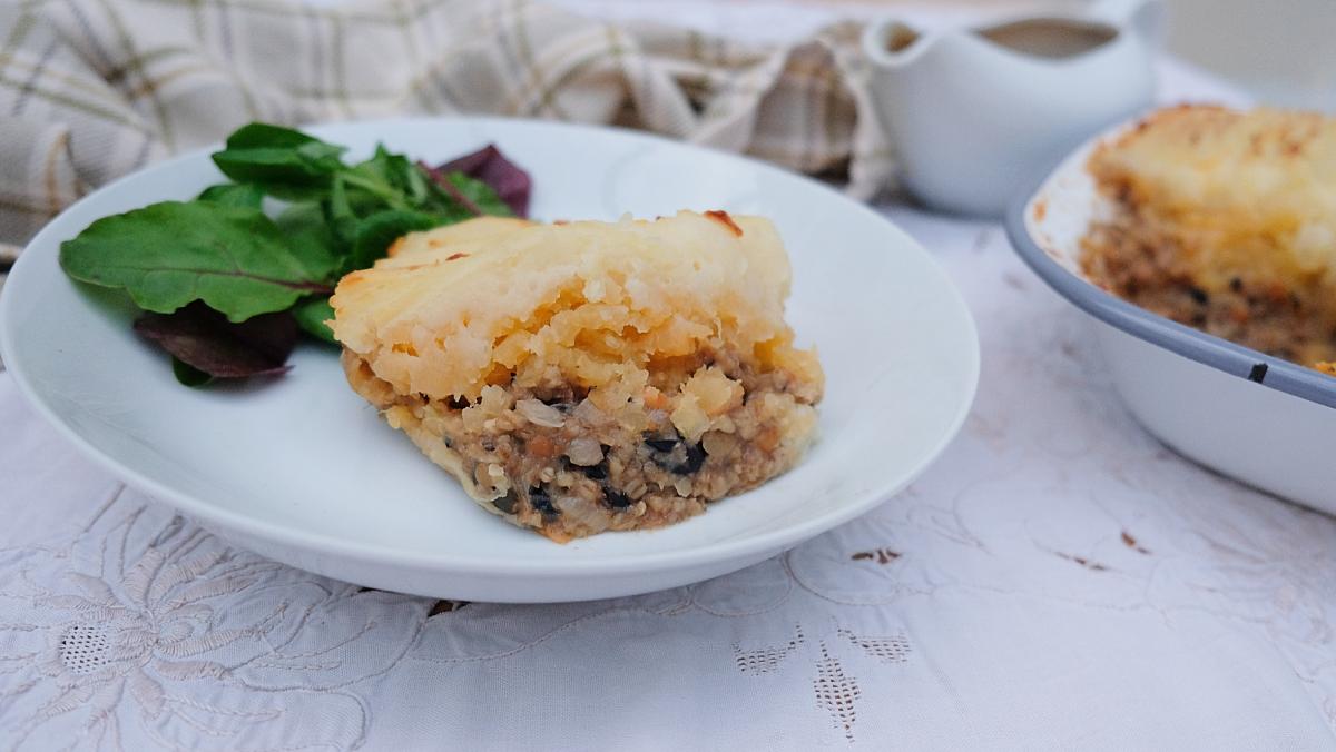 Vegetarian haggis shepherd's pie with neeps and tattie topping