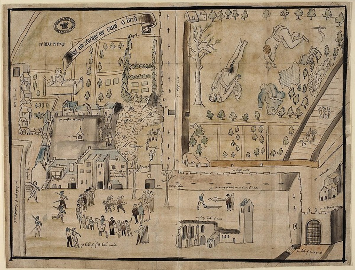 Plan of Kirk o'Field drawn for Elizabeth I and Sir WIlliam Cecil at the Engish court.