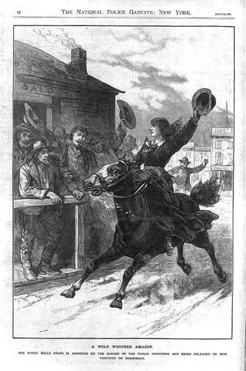 The National Police Gazette depicting the myth of Belle Starr galloping through town and firing off her six-shooters. This is something that likely never happened.