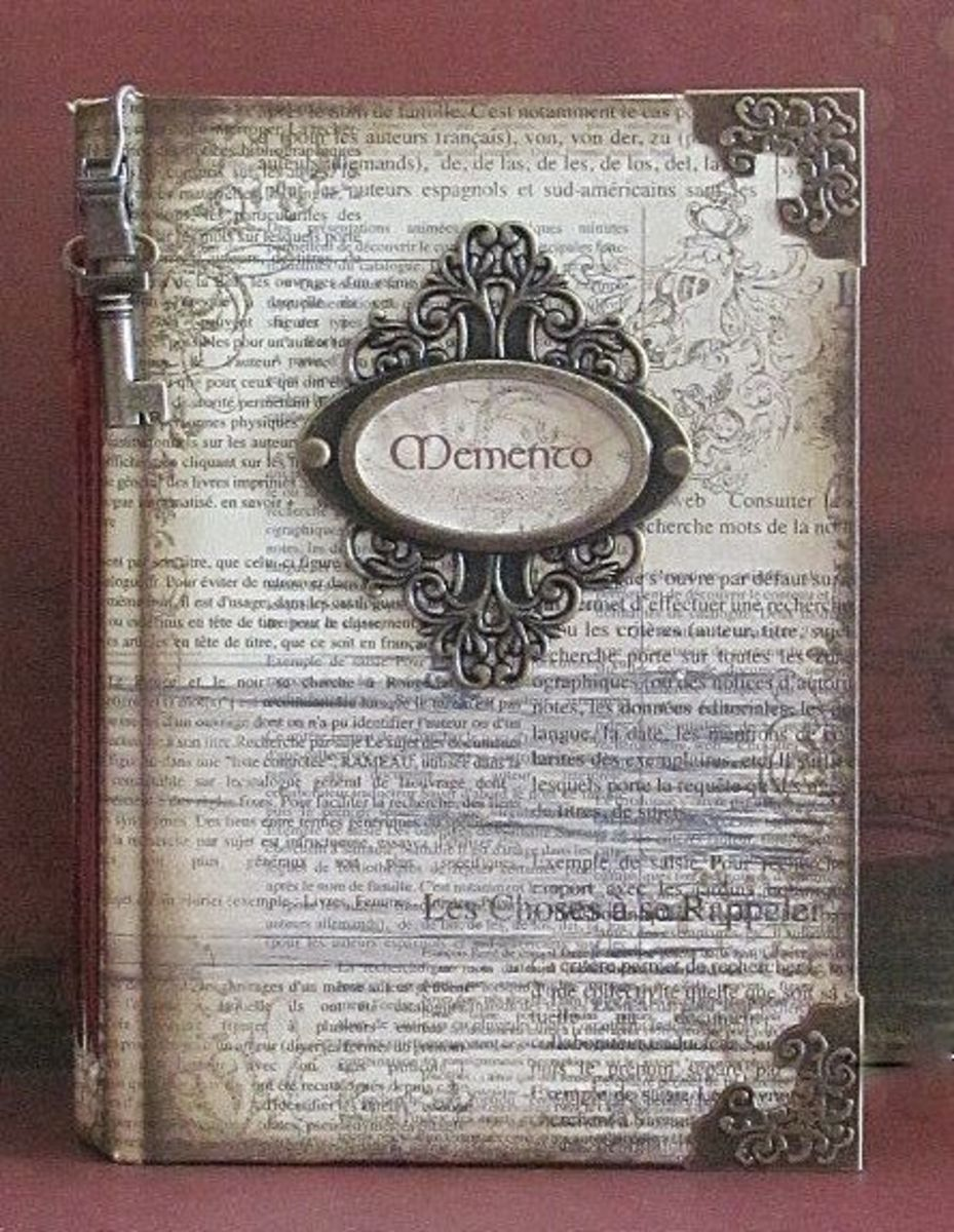 You can decoupage and add all kinds of embellishments to your decoupaged journal cover