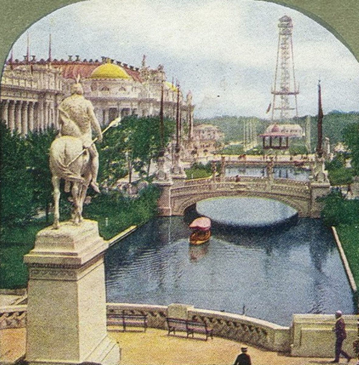 East Lagoon. Statue of Saint Louis in the foreground, with Palaces of Education and Manufacture, and wireless telegraph tower.