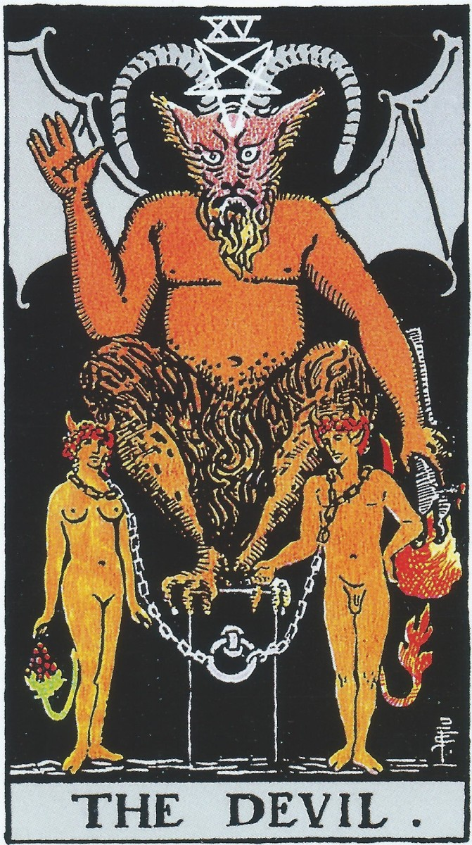This famous Tarot card is symbolic, not literal. Tarot has nothing to do with devilish creatures. It shows people voluntarily chained to a bad but tempting habit, negativity, or compromise. The loose chains show that you can free yourself if you want