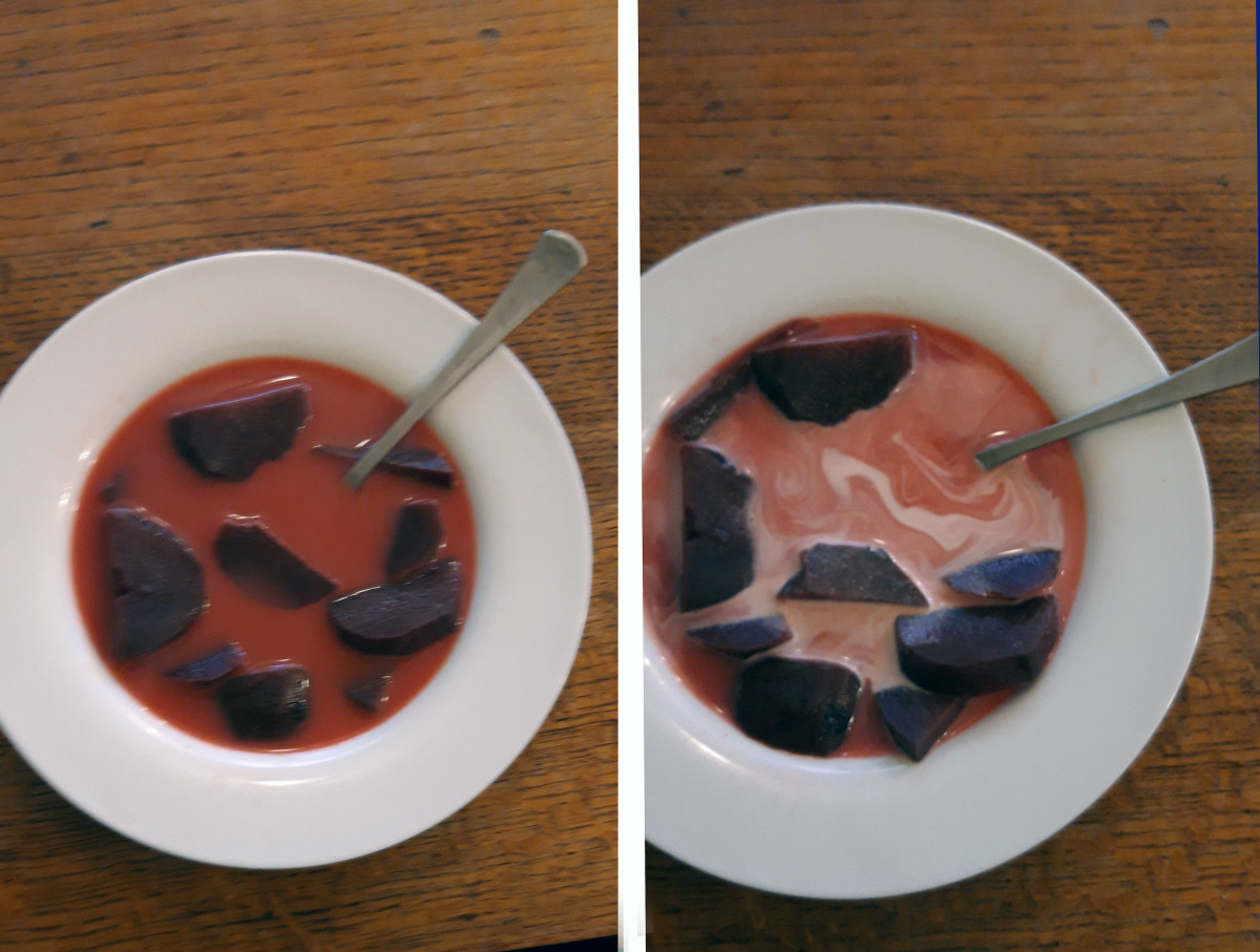 Variations of Beetroot Soup before and after adding cream