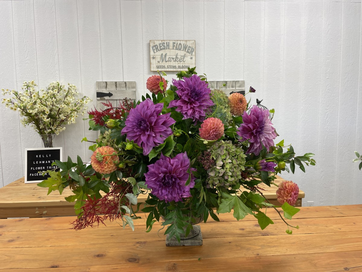Learn how to create a beautiful dahlia display with Oasis foam and garden greenery.