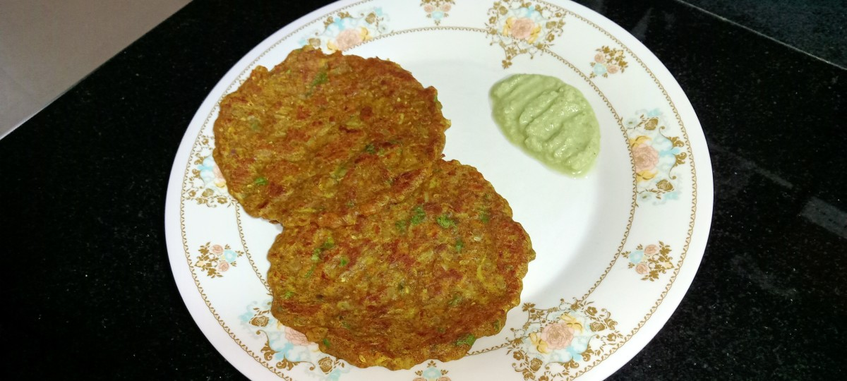 Millet chilla pancakes served with green chutney