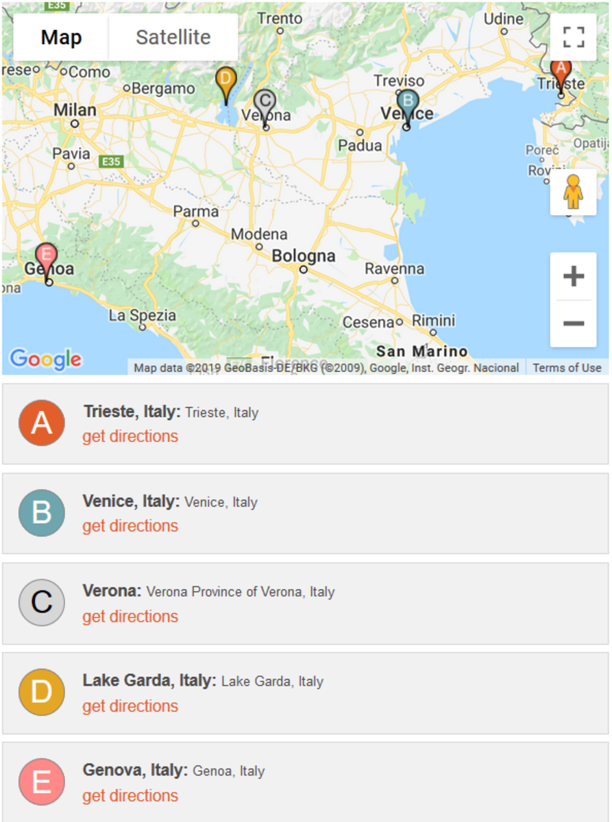 Trieste, Venice, Verona, Lake Garda, and Genova.