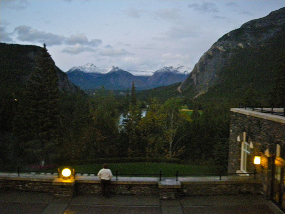 A view looking from the terrace, in the evening.