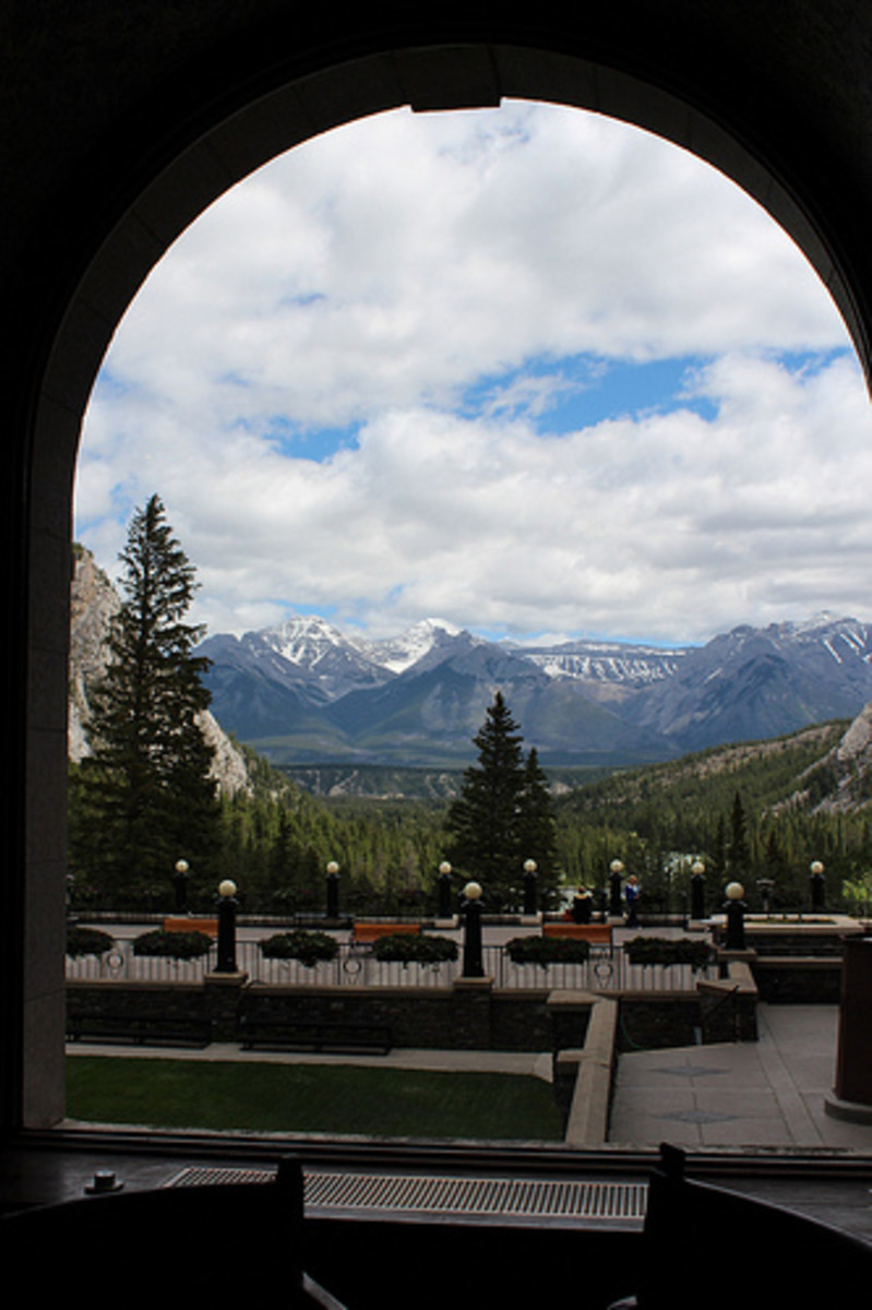 A view from one of the windows of the hotel. Note how the poetic arch frames the breathtaking scenery.