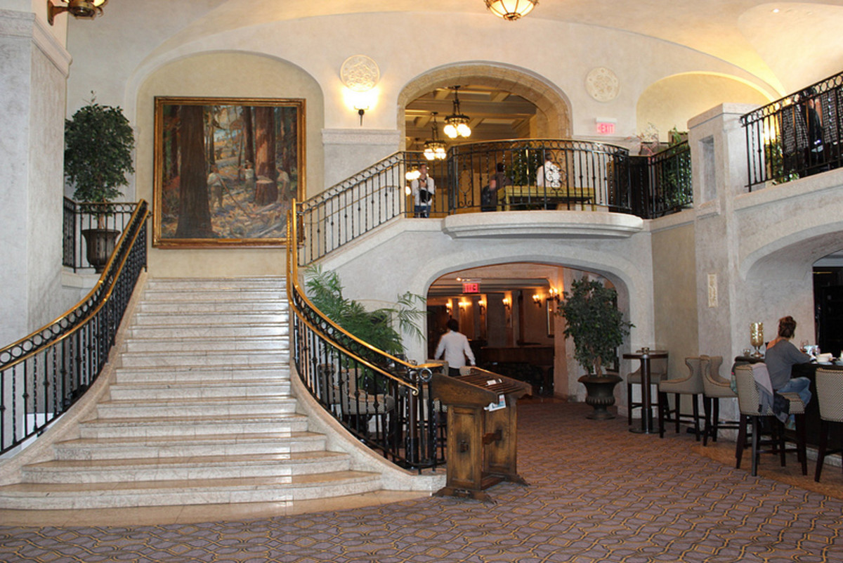 Another elegant staircase in the Fairmont Banff Springs Hotel.