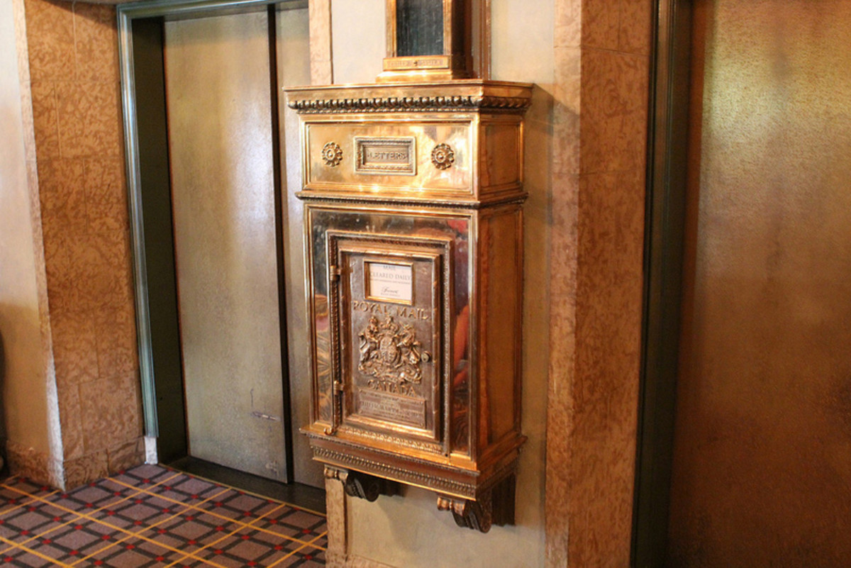 A hall way mailbox in the hotel which adds to the old character of the place.