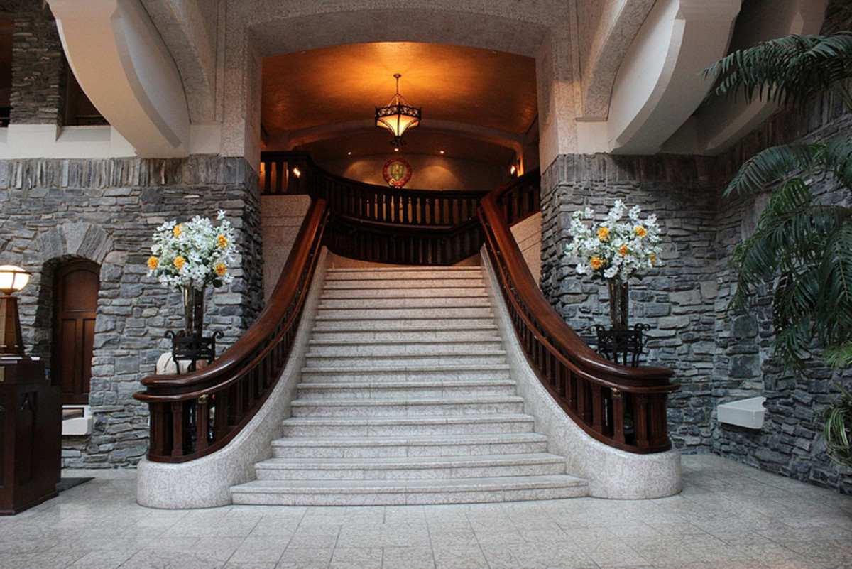 A grand staircase of the hotel. You almost expect a princess to come swooping down these stairs!