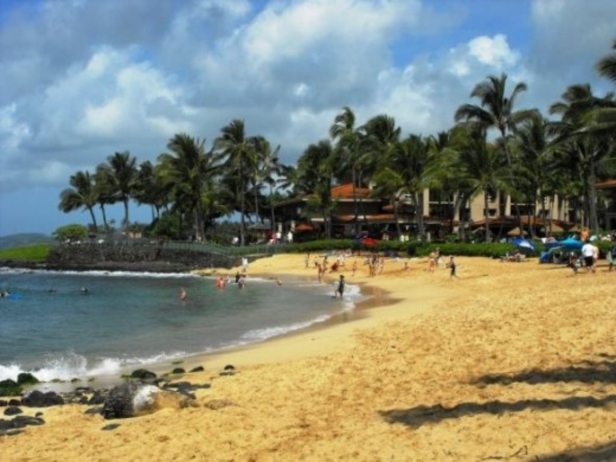 Beach in front of the Marriott Vacation Club at Poipu beach