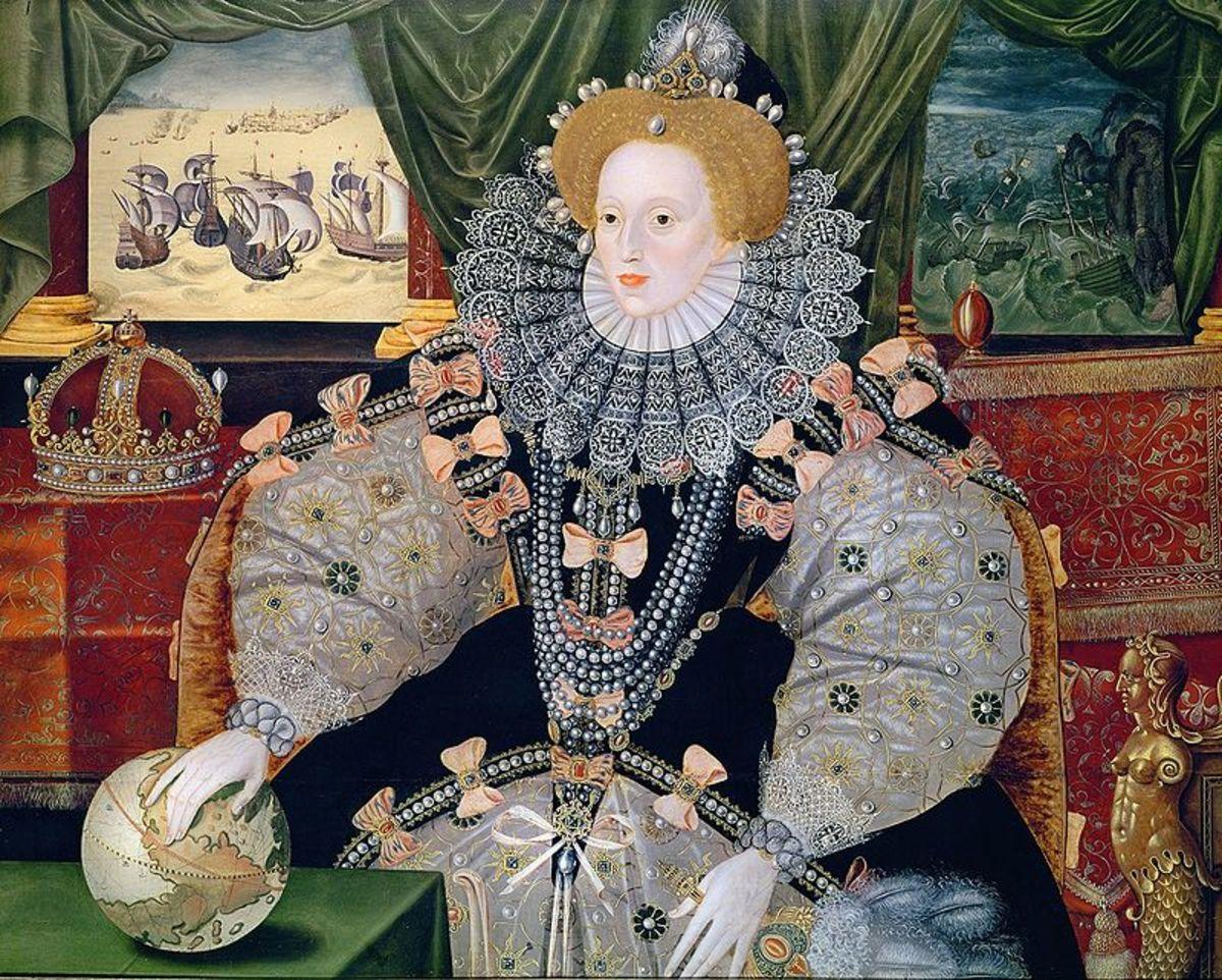 Elizabeth I in The Armada Portrait celebrating the Spanish Armada.