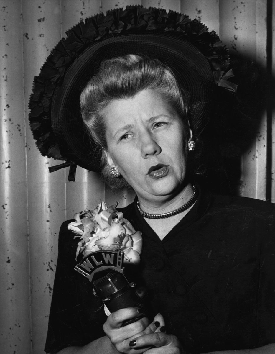 Ruth Lyons with her traditional corsage. 1948