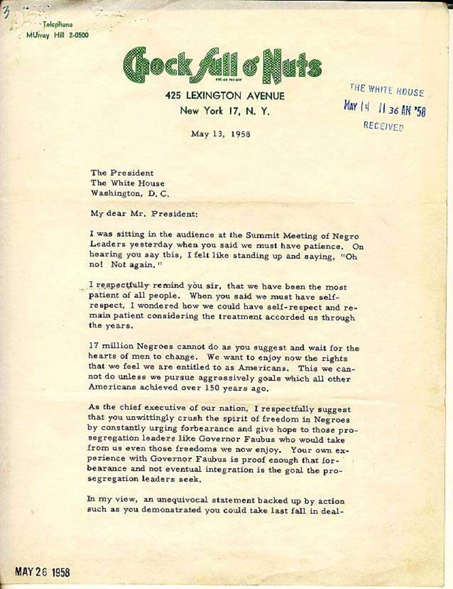Jackie Robinson writes to the president of the United States demanding action on civil rights. (Click link to read letter.)