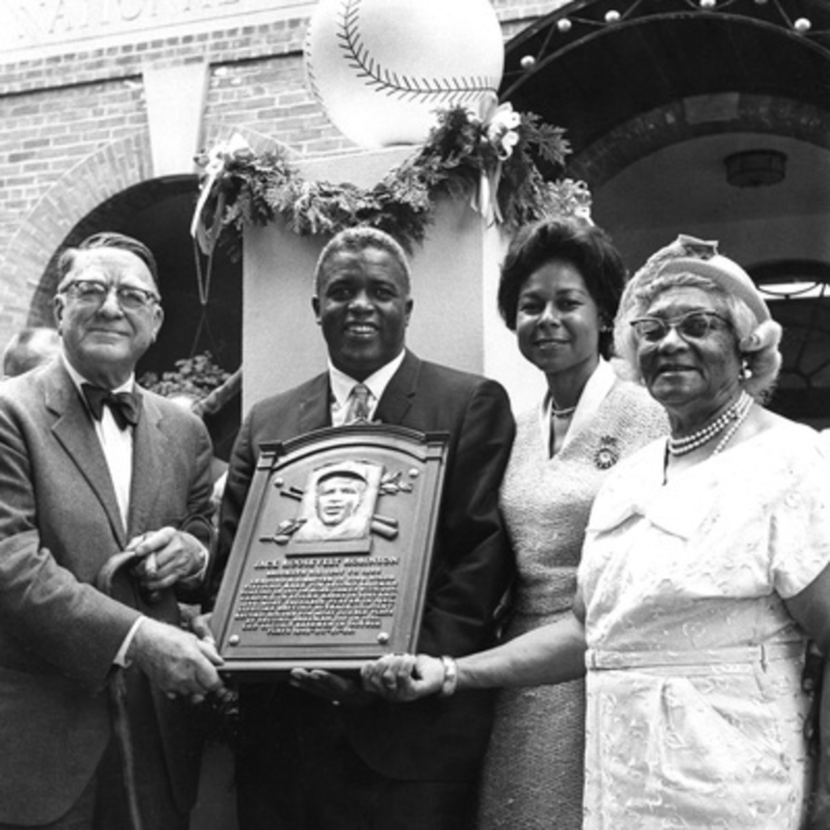 Branch Ricky, Jackie Robinson, Rachel Robinson (wife), Mallie Robinson (mother), Hall of Fame, July 23, 1962. Photo by G. Marshall Wilson.