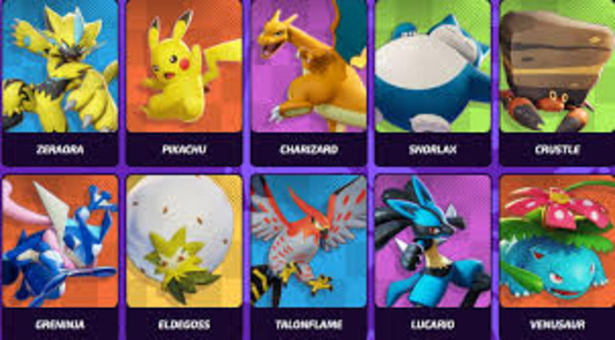 Some of the available Pokémon