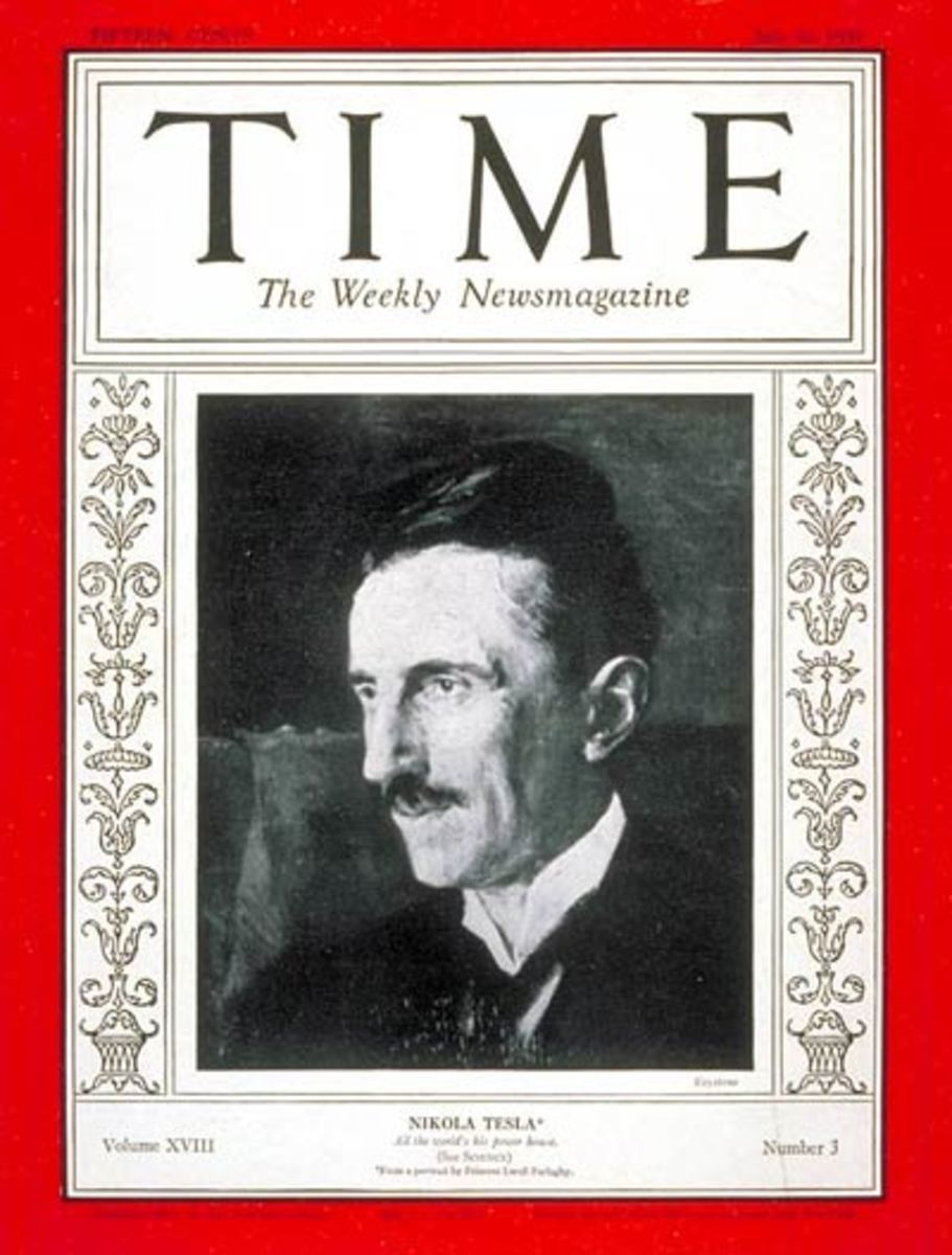 Time magazine, Volume 18 Issue 3, July 20, 1931 The cover shows Nikola Tesla.