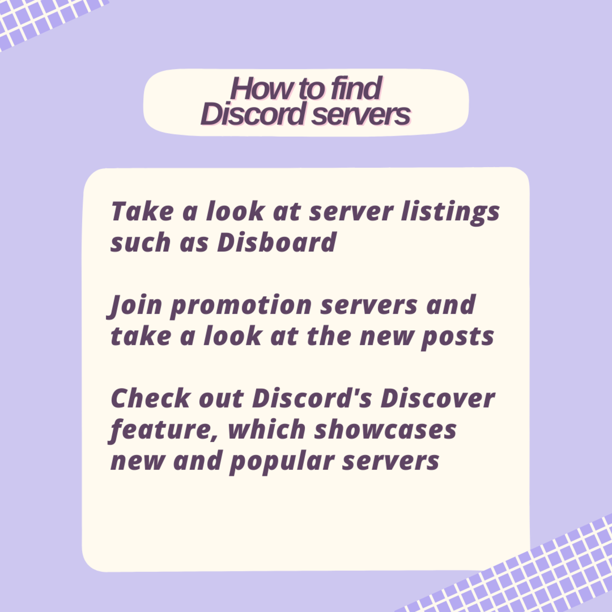 Here are some ways to find Discord servers!