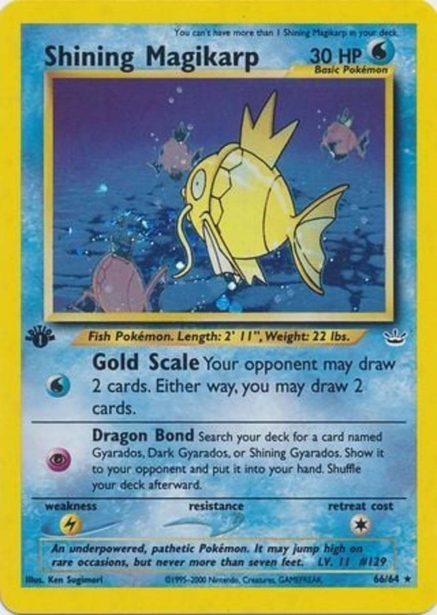 Shining Magikarp was one of the first Shining Pokémon, introduced in Neo Revelation.
