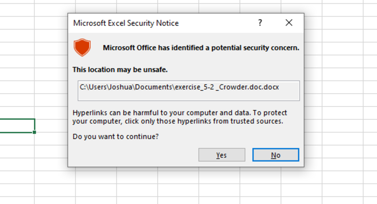 The security note that appears is only confirming that you want to open the selected document.