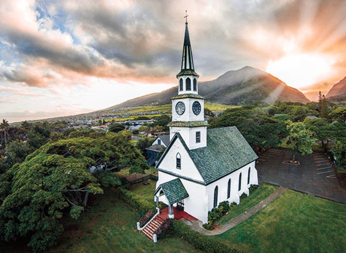 An Image of Ka'ahumanu Church, Wailuku, Maui, Hawaii Captured By a Drone