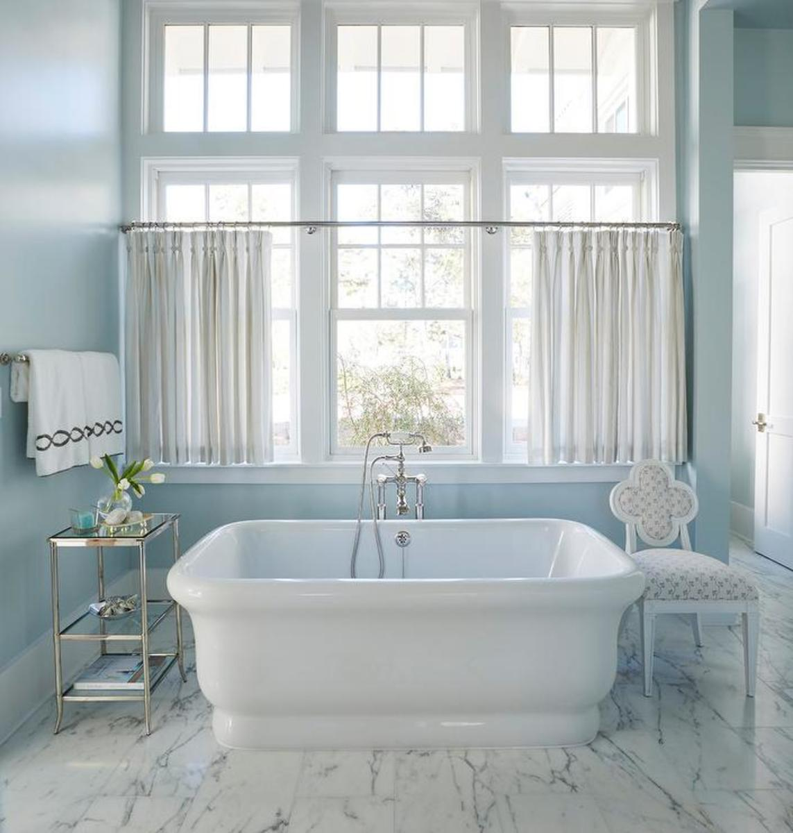 The Cancer bathroom should be a paradise of blue, gray, and silver.