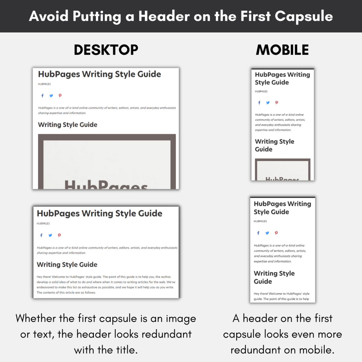 Putting a header on the very first capsule of your article looks redundant with the title.