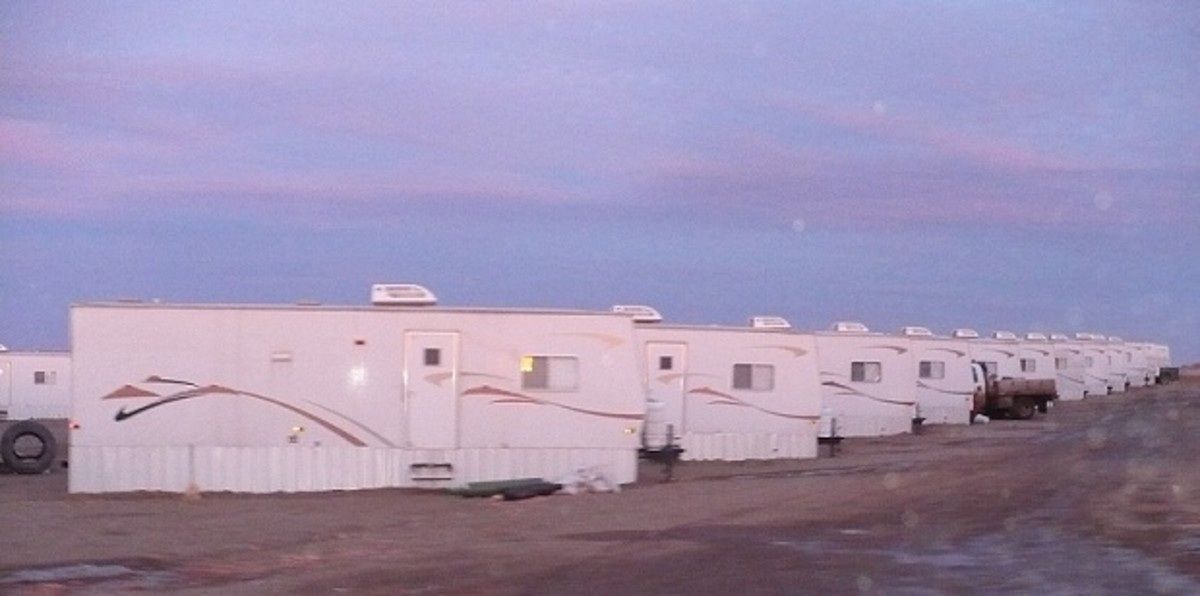 These little trailers found in mancamps are what some guys working in the oilfield call home. This particular mancamp is located in the field just east of my parents' home one mile north of Watford City.