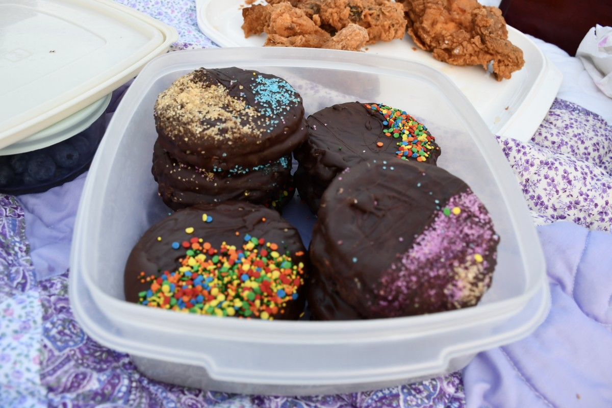 The container is holding moon pies. A moon pie is a cookie sandwich coated in chocolate. The centers have marshmallow filling and jam.