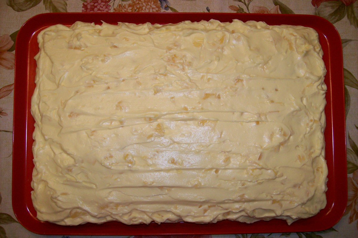 Spread evenly over entire cake.