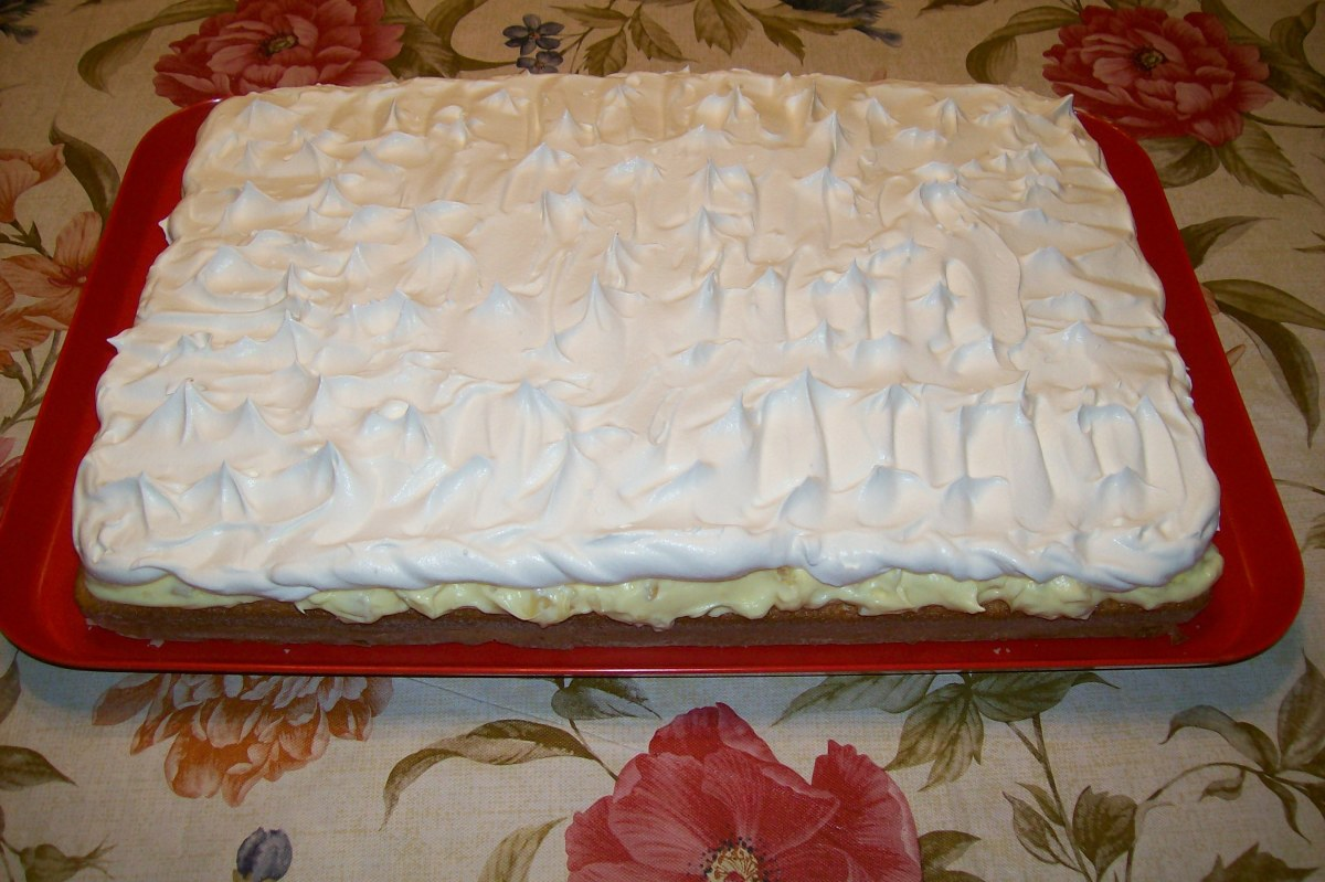 Just a side view of cake with top layer.