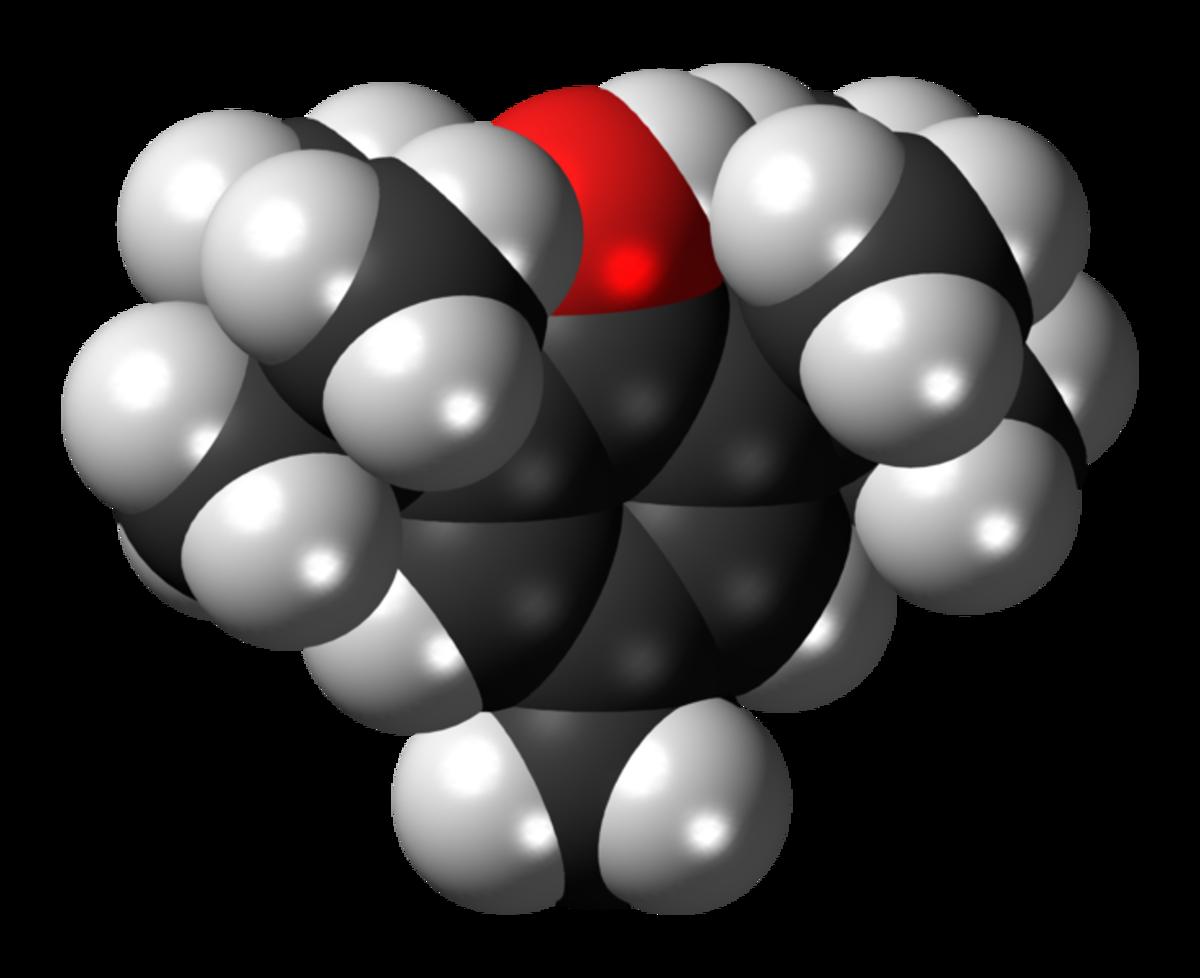 Butylated hydroxytoluene formula in 3D