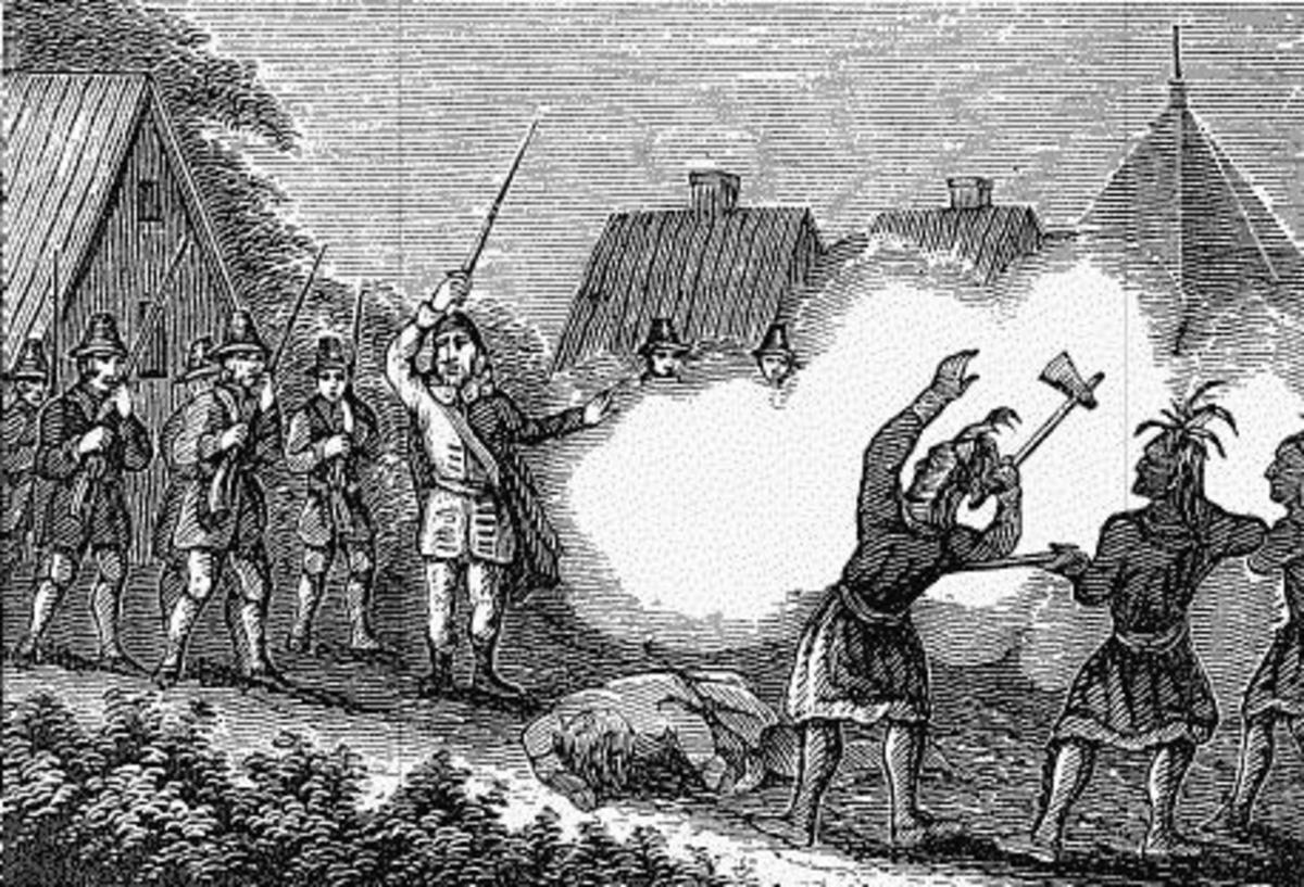 Massachusetts Colony Militia fighting the Pequot Indians