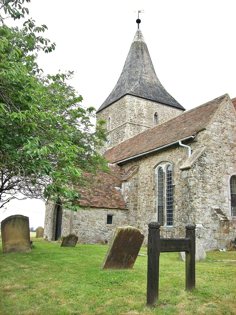 Edith Nesbit's grave is located at St Mary in the Marsh church in Kent.