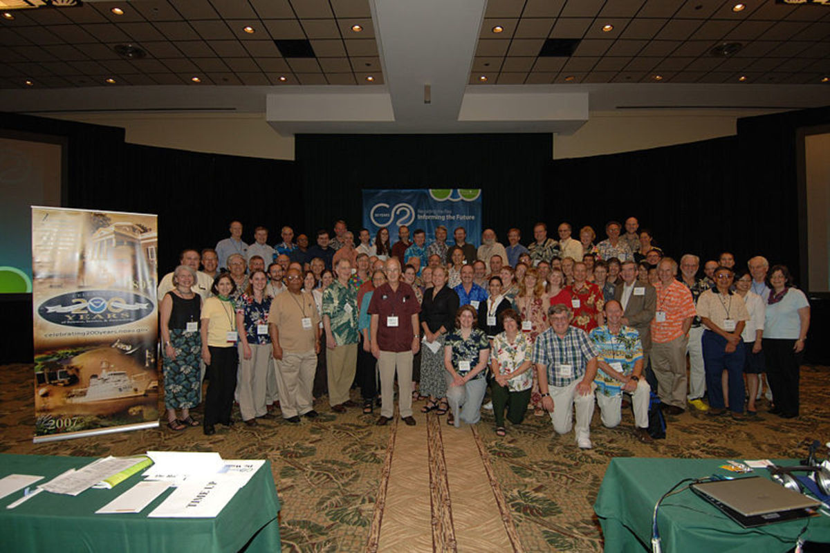 50th anniversary Mauna Loa Observatory conference and celebration, 2007, Kona, Hawaii.  Image courtesy NOAA & Wikimedia Commons.